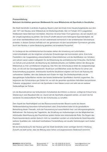 Pressemitteilung Behnisch Architekten gewinnen Wettbewerb für ...