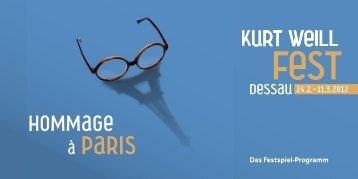 Das Festspiel-Programm - Kurt-Weill- Fest