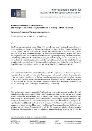 Gutachten Kommunalstrukturen Wolfsburg Gifhorn Helmstedt