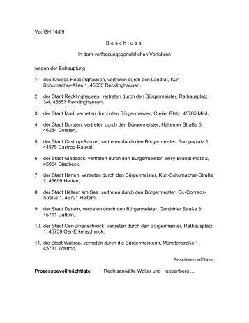 Verfassungsbeschwerde gegen Gemeindefinanzierungsgesetz ...