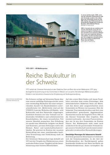 Reiche Baukultur in der Schweiz - Schweizer Heimatschutz