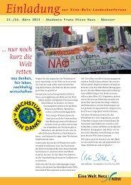 Einladungsflyer - Eine Welt Netz NRW