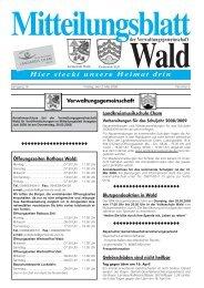 Landkreismusikschule Cham Blutspendeaktion ... - Gemeinde WALD
