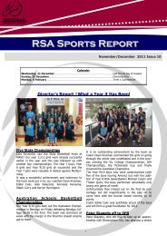 RSA Sports Report - Rowville Secondary College