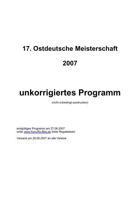 17. Ostdeutsche Meisterschaft 2007 unkorrigiertes Programm