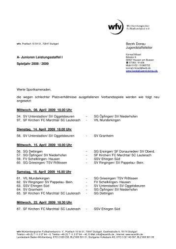 A- Junioren Leistungsstaffel I - Jugendfussball im Bezirk Donau