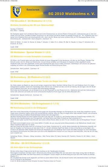Alle Berichte der 1. Mannschaft - SG 2010 Waldsolms
