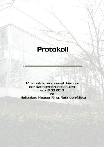 Protokoll Grundschulschwimmfest 13.03.2010 - TV Ratingen