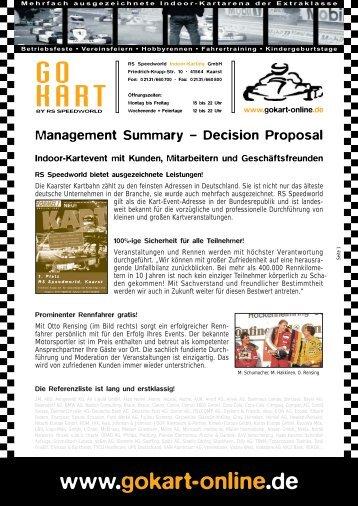 Entscheidungsvorlage - RS Speedworld Indoor-Karting GmbH