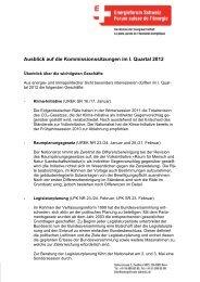 Ausblick auf die Kommissionssitzungen im I. Quartal 2012 ...