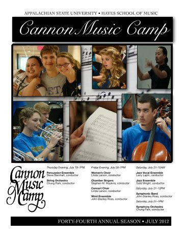 CannonMusic Camp - Hayes School of Music - Appalachian State ...