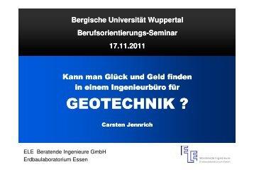 Alltagsgeschäft im Büro für Geotechnik - Statik - Bergische ...