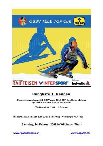Rangliste 1. Rennen - TG Wolzen