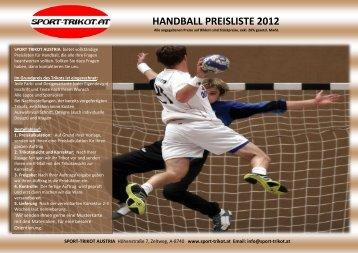 HANDBALL PREISLISTE 2012 SPORT TRIKOT AUSTRIA bietet ...