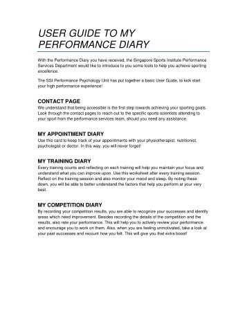 user guide to my performance diary - Singapore Sports Council