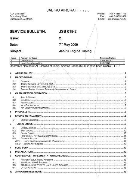JABIRU AIRCRAFT PTY LTD SERVICE BULLETIN: JSB 018-2