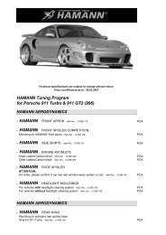 HAMANN Tuning Program for Porsche 911 Turbo & 911 GT2 (996)