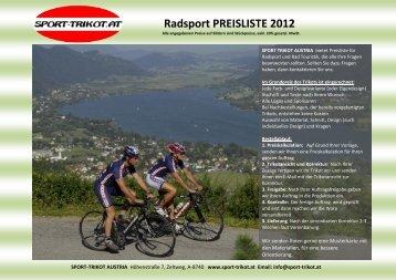 RADSPORT PREISLISTE 2012 SPORT TRIKOT AUSTRIA bietet ...