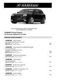 HAMANN Tuning Program for Porsche Cayenne S & Turbo