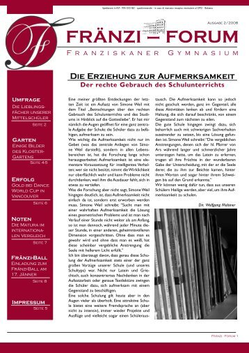 Ausgabe 2/2008 FRÄNZI – FORUM - Franziskanergymnasium Bozen