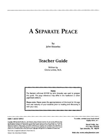 a separate peace summary 3 A separate peace has 170,342 ratings and 6,036 reviews jeffrey said: and the rays of the sun were shooting past them, millions of rays shooting past th.