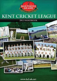 Handbook on line 2012 - Forester Kent Cricket League - Uk.net