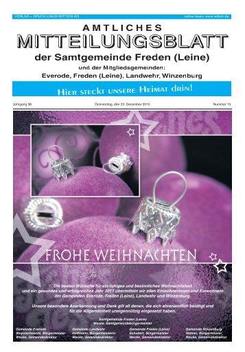 frohe weihnachten - Samtgemeinde Freden