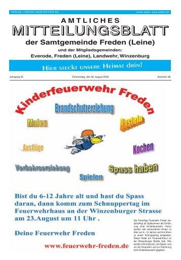 Jahrgang 35 Donnerstag, den 06. August 2009 Nummer 08 Die ...