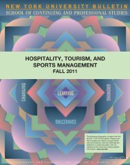 hospitality, tourism, and sports management - NYU SCPS - New ...