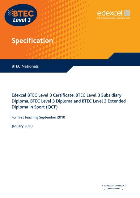 Edexcel Btec Level 3 Diploma In Sport Performance And