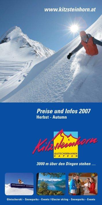 Preise und Infos 2007 - Kitzsteinhorn
