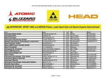 INTERSPORT, SPORT 2000 und HERVIS-Filialen, sowie Sport Eybl ...