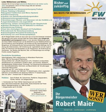 Wahlflyer - Freie Wähler Geisenhausen