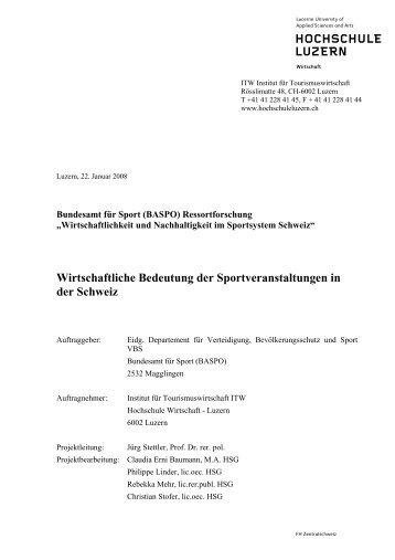 ITW-Berichts zu den Sportveranstaltungen - Observatorium Sport ...