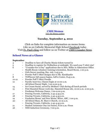 Tuesday, September 4 - Catholic Memorial High School