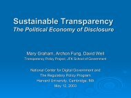 Sustainable Transparency The Political Economy of Disclosure