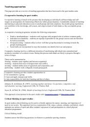Teaching approaches Cooperative learning in sport studies Critical ...