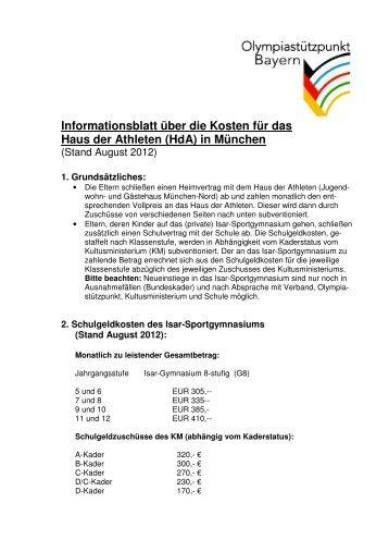 Informationsblatt über die Kosten für das Haus der ... - OSP Bayern