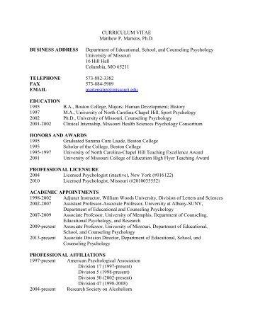 Curriculum Vitae - College of Education - University of Missouri