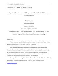 Sport, Exercise, and Performance Psychology. - Faculty of Social ...