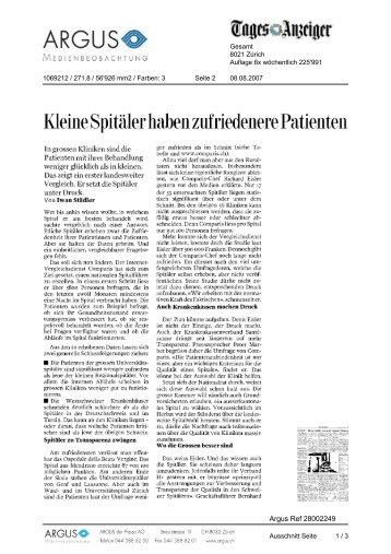 Kleine Spitäler haben zufriedenere Patienten - Comparis.ch