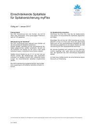 Einschränkende Spitalliste für Spitalversicherung myFlex - CSS ...