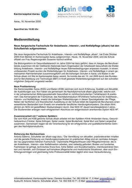 Medienmitteilung - Kantonsspital Aarau