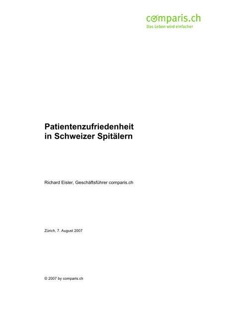 Patientenzufriedenheit in Schweizer Spitälern - Comparis.ch