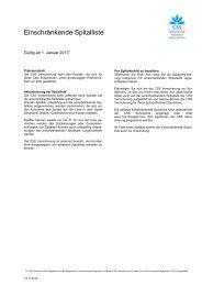 Einschränkende Spitalliste (288 KB) - CSS Versicherung