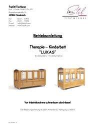Therapie-Kinderbett Lukas Betriebsanleitung - FreiStil Tischlerei