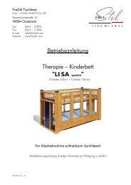 """Betriebsanleitung Therapie – Kinderbett """"LISA ... - FreiStil Tischlerei"""