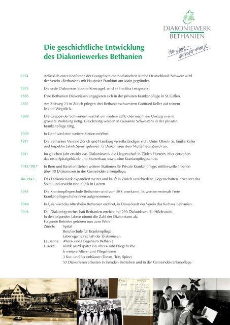 Die geschichtliche Entwicklung des Diakoniewerkes Bethanien