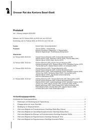 Grosser Rat des Kantons Basel-Stadt Protokoll