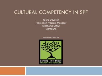 CULTURAL COMPETENCY IN SPF